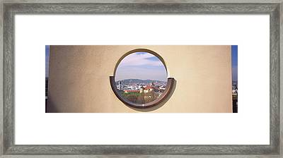 View Of A City Through An Observation Framed Print by Panoramic Images