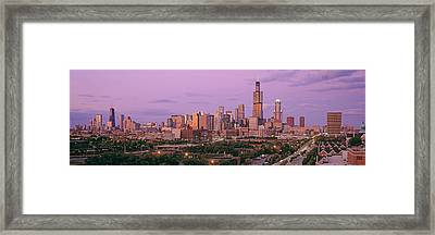 View Of A Cityscape At Twilight Framed Print