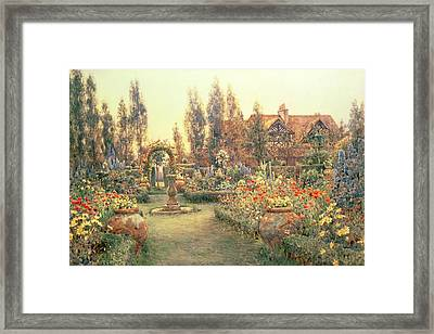 View Of A Country House And Garden Framed Print