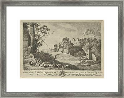 View Of A Landscape With Shepherds, Jan Lauwryn Krafft Framed Print by Artokoloro