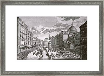 View Of A Procession In The Graben Engraved By Georg-daniel Heumann 1691-1759 Engraving Framed Print by Salomon Kleiner