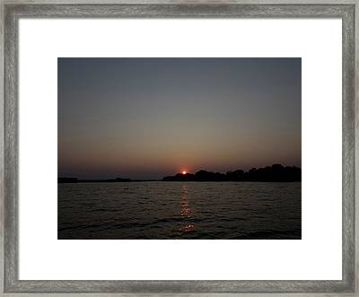 View Of A River At Dusk, Zambezi River Framed Print