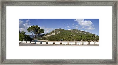 View Of A Road With Mountain Framed Print by Panoramic Images