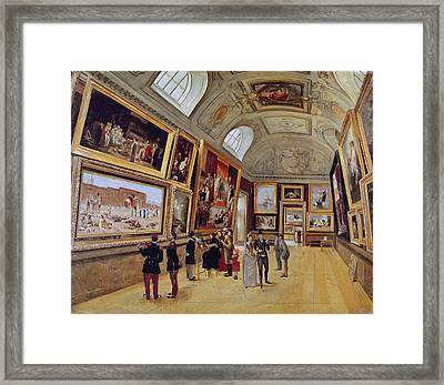 View Of A Room In The Musee Du Luxembourg In Paris In 1883-85 Oil On Canvas Framed Print