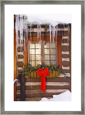 View Of A Rustic Cabin Window Adorned Framed Print