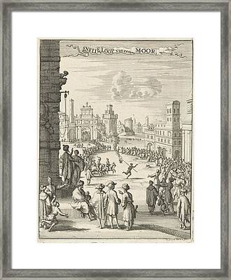 View Of A Square Where A Black Man With Firepit Is Running Framed Print