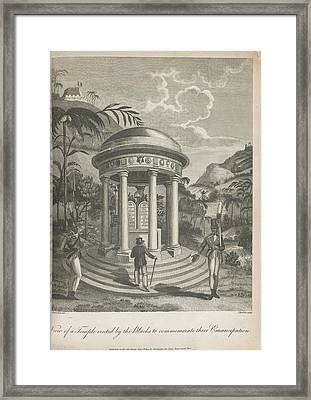 View Of A Temple Framed Print by British Library