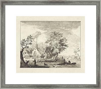View Of A Town Square, Henricus Van Der Winden Framed Print