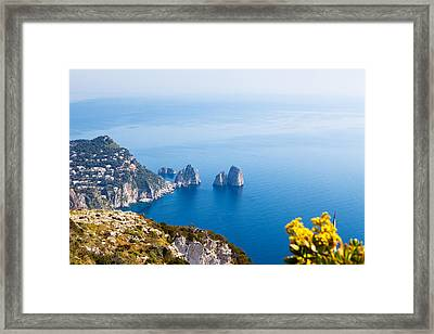 View Of Amalfi Coast Framed Print by Susan Schmitz