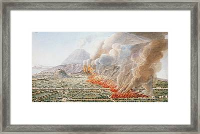View Of An Eruption Of Mount Vesuvius Framed Print by Pietro Fabris
