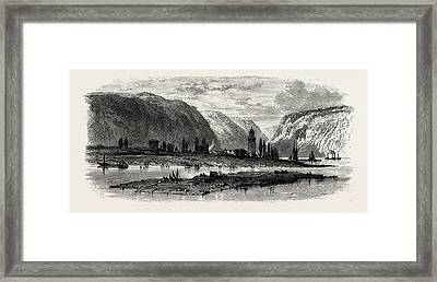 View Of Andernach, The Rhine, Germany Framed Print by German School