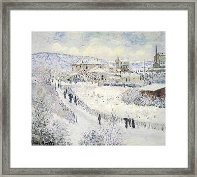 View Of Argenteuil Snow Framed Print by Claude Monet