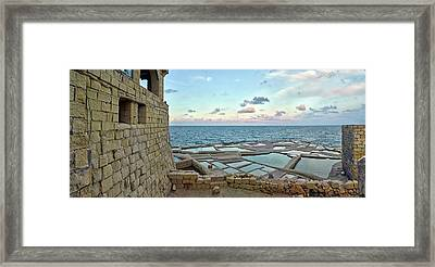 View Of Artillery Battery At Seashore Framed Print
