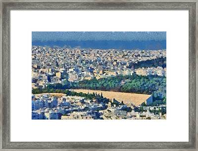 View Of Athens And Panathenean Stadium Framed Print