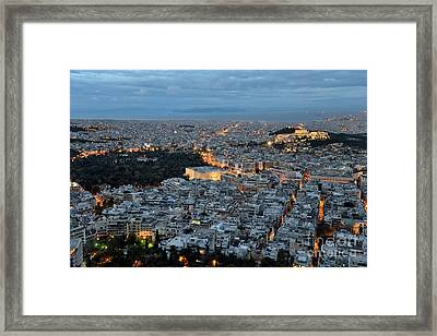 View Of Athens During Dawn Framed Print
