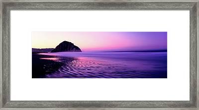 View Of Beach At Sunrise, Morro Rock Framed Print