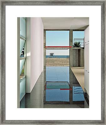 View Of Beach From Lobby Framed Print
