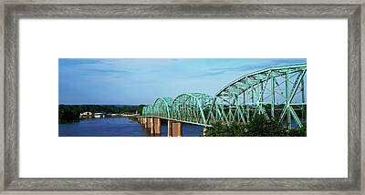 View Of Bridge Over Mississippi River Framed Print by Panoramic Images