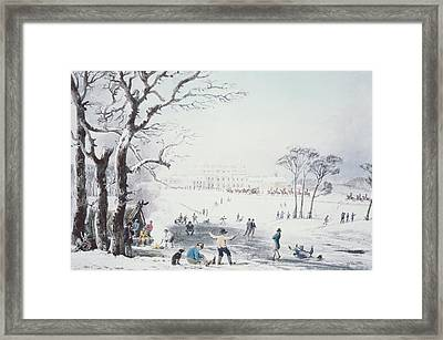 View Of Buckingham House And St James Park In The Winter Framed Print