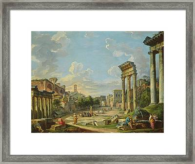 View Of Campo Vaccino In Rome Framed Print