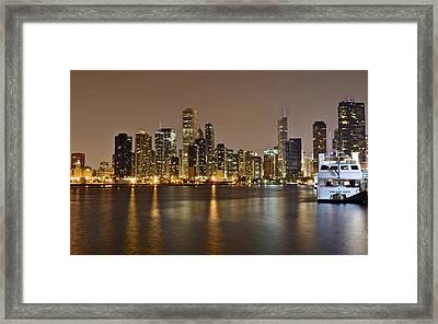 View Of Chicago From Navy Pier Framed Print by Frozen in Time Fine Art Photography