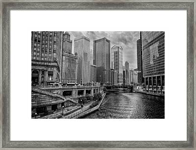 View Of Chicago River Framed Print by Mike Burgquist