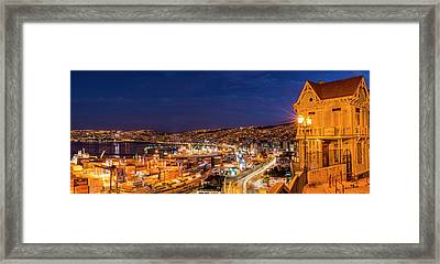 View Of City And Ports At Dusk Framed Print by Panoramic Images