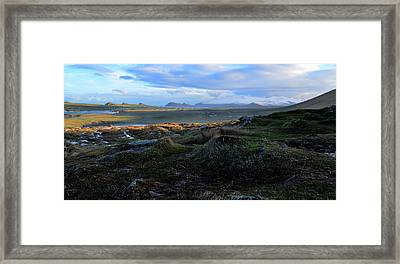 View Of Clogher Beach And The Three Sisters Framed Print