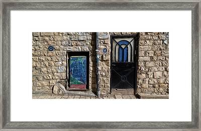 View Of Closed Door, Door, Safed Zfat Framed Print