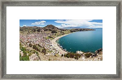 View Of Copacabana And Lake Titicaca Framed Print by Panoramic Images