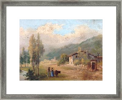 Framed Print featuring the painting View Of Countryside by Egidio Graziani