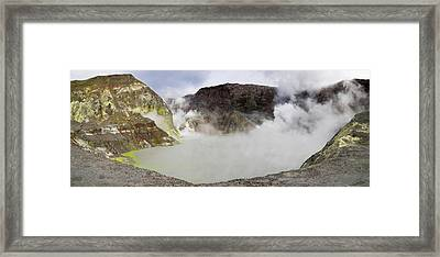 View Of Crater Lake In White Island Framed Print by Panoramic Images
