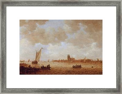 View Of Dordrecht With The Grote Kirk Across The Maas Framed Print