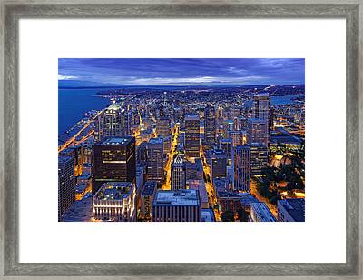 View Of Downtown Seattle Skyline From Columbia Tower Skyview Observatory - Seattle Washington Framed Print by Silvio Ligutti