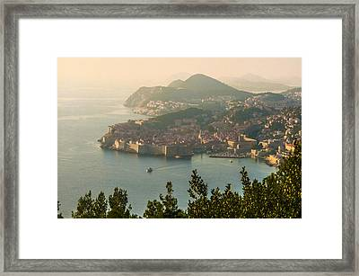 Framed Print featuring the photograph View Of Dubrovnik Peninsula by Phyllis Peterson