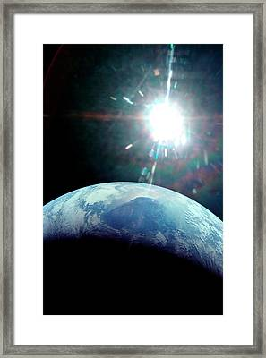 View Of Earth From Apollo 11 Spacecraft Framed Print by Nasa/detlev Van Ravenswaay