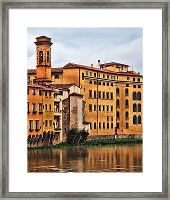 View Of Florence Along The Arno River Framed Print