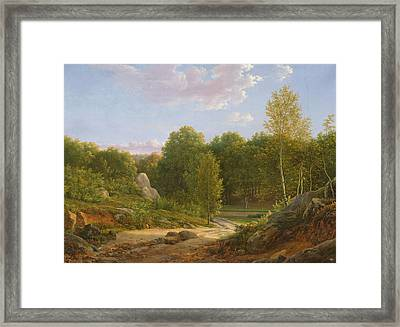 View Of Fontainebleau Forest, 1829 Oil On Canvas Framed Print by Jean Joseph Xavier Bidauld