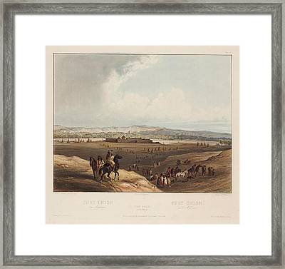 View Of Fort Union The Assiniboins Breaking Up Their Camp Framed Print