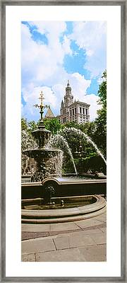 View Of Fountain, City Hall Park Framed Print