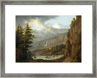 View Of Giornico From The St Gotthard Pass. Switzerland Framed Print by Jacob Philipp Hackert