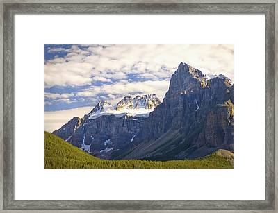 View Of Glacial Mountains And Trees In Framed Print by Laura Ciapponi