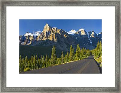 View Of Glacial Mountains And Trees Framed Print by Laura Ciapponi