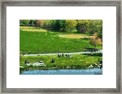 View Of Great Lawn In Central Park Framed Print by George Atsametakis