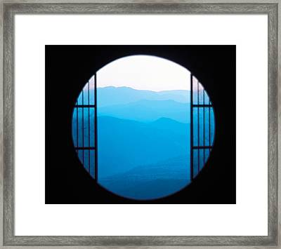 View Of Hazy Blue Mountain Ranges Framed Print by Panoramic Images