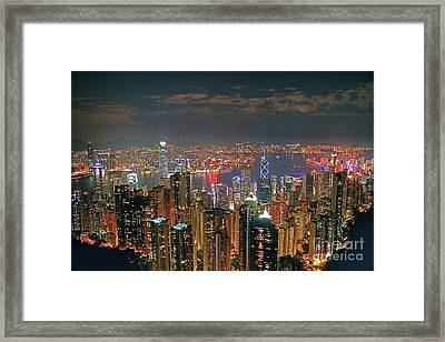 View Of Hong Kong From The Peak Framed Print by Lars Ruecker