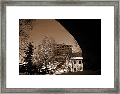View Of Hotel Bethlehem From Colonial Industrial Quarter - Sepia Framed Print