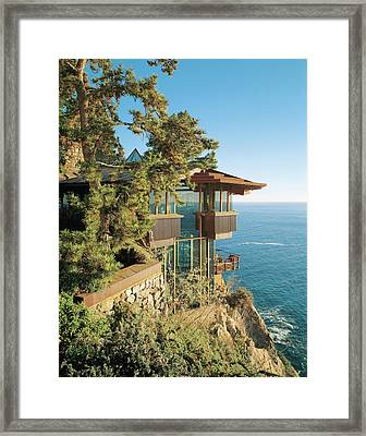 View Of Hotel Near Seaside Framed Print by Mary E. Nichols