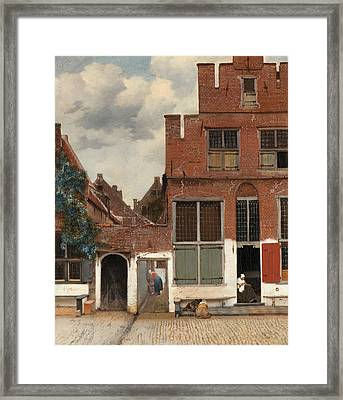 View Of Houses In Delft  Known As  The Little Street Framed Print by Johannes Vermeer