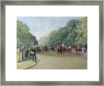 View Of Hyde Park With Figures On Rotten Row  Framed Print